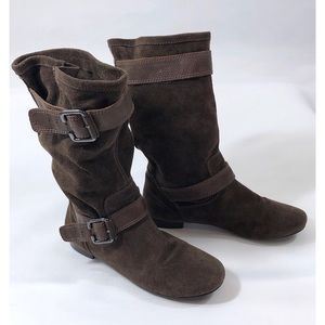 Marc Fisher Brown Suede Mid Calf Flats Boots